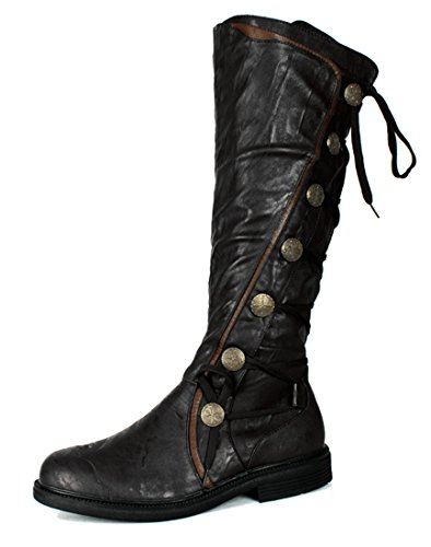 Military Steampunk Western Vintage Style Halloween Costume Adult Mens Boots (Steampunk Costume Spirit Halloween)