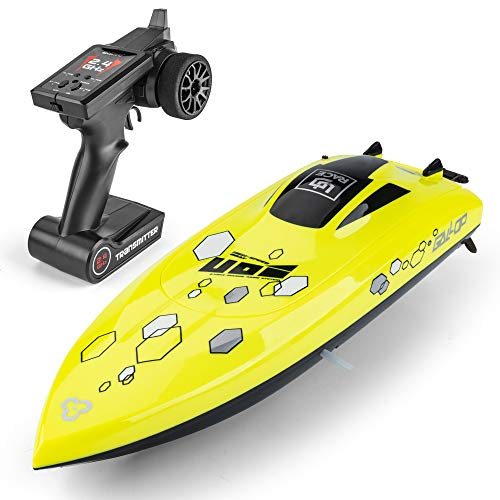 UD08 Remote Control Boat: for Pools, Lakes & Rivers, Fast RC Boat for Adults & Kids with 2.4Ghz Radio Controller, self-righting Remote Control Electric Toy Boats, Included Two Batteries, Yellow