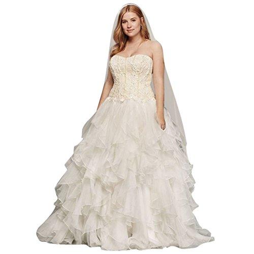 David's Bridal Oleg Cassini Organza Ruffle Skirt Wedding Dress Style 8CWG568, Ivory, (Oleg Cassini Bridal Dresses)