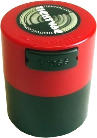 Tightvac Minivac 1-Ounce Vacuum Sealed Dry Goods Storage Container, Black Body/Red Cap by Tightpac America, (Tightvac 4 Ounce)