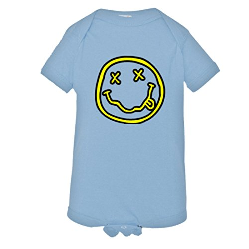 Nirvana 1 Light (Baby Creeper Nirvana Smiley Face Nevermind HQ 1-Piece Jumper - Light Blue)