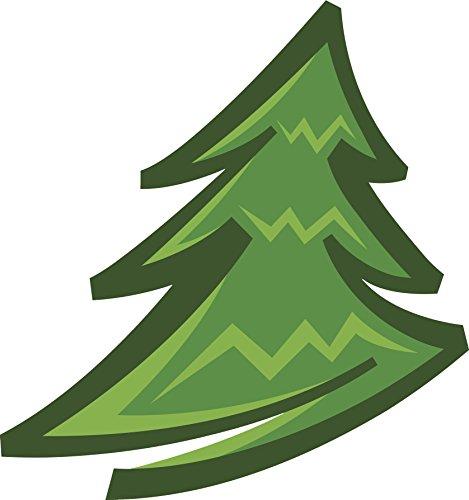 (Simple Green Clipart Green Pine Christmas Tree Cartoon Vinyl Decal Sticker (4