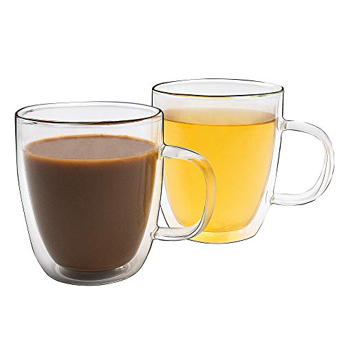 Double Wall Glass Coffee Mugs 12 OZ Set of 2 - Insulated Borosilicate Glass Cup, Clear Dual Wall Glasses with handle for Coffee Tea Beer - Transparent - Aidea