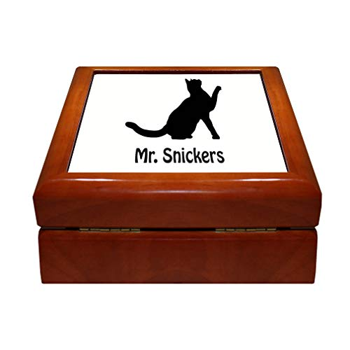 Style In Print Personalized Custom Text Sitting Cat Silhouette Wood Organizer Jewelry Box 4