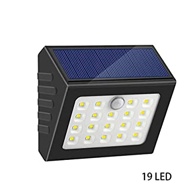 Carl Artbay Solar Wall Lights, with Motion Sensor 150° Wide Angle 19 LED White Light Wireless Security Light Solar Powered Waterproof Outdoor Lighting for Garden Garage Gate Driverway Black