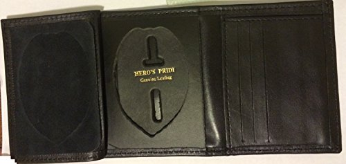 Leather Framed French Wallet - HERO'S PRIDE TRI-FOLD RECESSED SHIELD BADGE WALLET