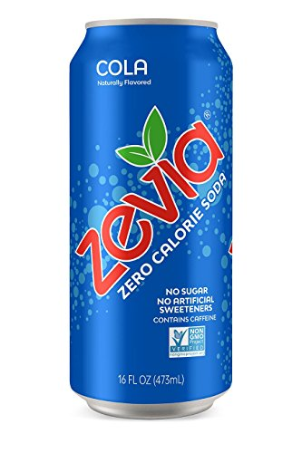 - Zevia Cola, 16 Ounce Can (12 Count)  Zero Calories, Zero Sugar, Naturally Sweetened, Carbonated Soda, Refreshing, Full of Flavor, and Super Tasty