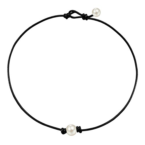 Thunaraz White Pearl Choker Necklace for Women with Black Leather Cord Necklace 2MM Adjustable, 13-18 Inches