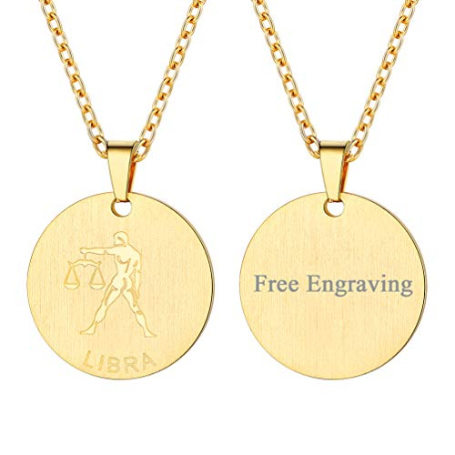 FaithHeart Engraving Astrology 12 Constellation Horoscope Necklace, 18K Gold Plated Libra Zodiac Star Sign Coin Pendant Necklace Birthday Gifts Lucky Charms Layered Necklace (Gold)