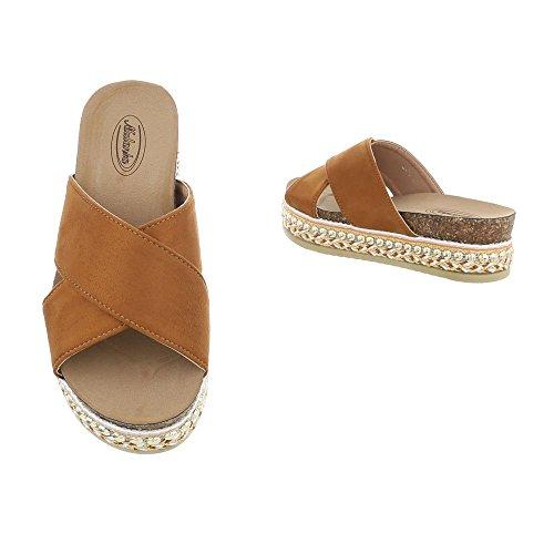Ital-Design Zapatos Para Mujer Sandalias de Vestir Plano Zuecos Braun G-79