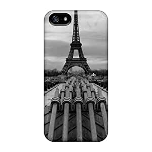 Tpu Case Cover For Iphone 5/5s Strong Protect Case - Eiffel Tower Paris Black&white Design