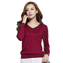 Panreddy Women S Cashmere Blended Knitted Pullovers Long Sleeve V Neck Sweater Wine Red Xl