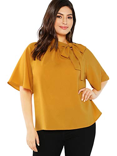 a1754d24ec SheIn Women's Plus Size Casual Side Bow Tie Neck Short Sleeve Blouse Shirt  Top