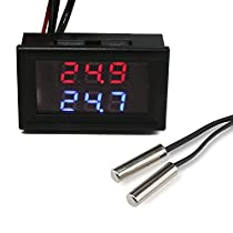 DROK -20 to +100℃ Digital Thermometer, DC 4-28V Indoor Outdoor Thermometer with Dual LED Display, High Accuracy Digital Temperature Gauge Tester with 2 Waterproof NTC Temperature Sensor Probe