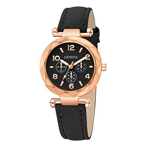 Londony✡Women's Watches Leather Rhinestone Inlaid Quartz Jelly Wristwatch Geneva Chronograph Watch with Crystals Link