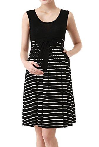 Momo Maternity Womens Scoop Neck Striped Dress
