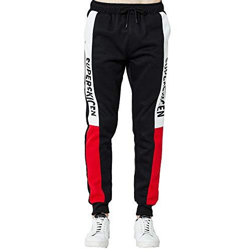 Men Pants Men's Casual Loose Pocket Patchwork Drawstring Comfy Elastic Waist Baggy Jogger Slacks Harem Sweatpants Trousers ()