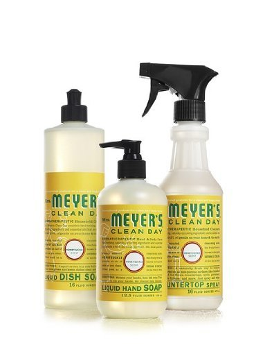 Mrs. Meyers Clean Day Kitchen Basics Set, Honeysuckle Scent Eco-friendly Natural Cleaners