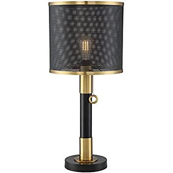 Cheri Black Drum Shade Metal Leaves Antique Brass Table Lamp Amazon Com
