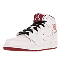 Nike Jordan Kids Air Jordan 1 Mid Bg White/Gym Red/Black Basketball Shoe 6 Kids US