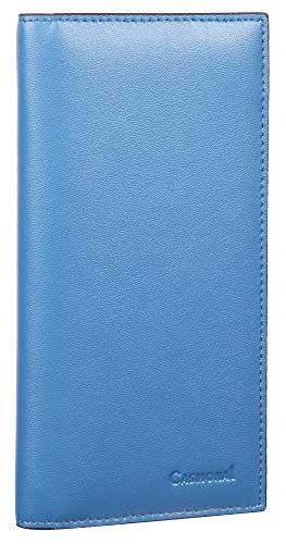 Casmonal Genuine Leather Checkbook Cover For Men & Women Checkbook Holder Wallet RFID Blocking(blue cadet)
