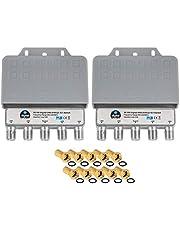 2X DiseqC Schakelaar 4/1 met weerbestendige behuizing HB-DIGITAL 4X SAT LNB 1 x deelnemer/ontvanger voor Full HDTV 3D 4K UHD + 10 x vergulde F-stekker verguld