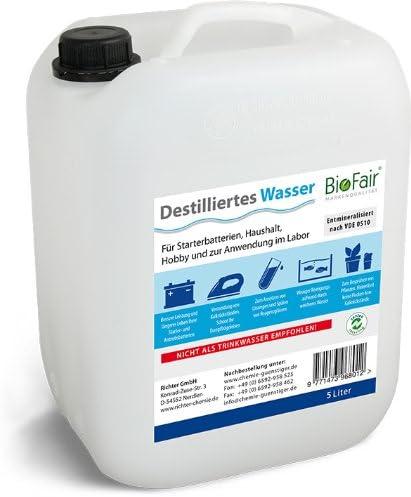 Agua desmineralizada BioFair® (25 litros) de acuerdo con VDE 0510 ...