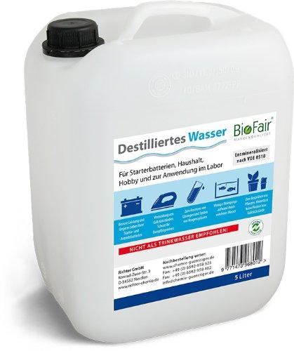 Acqua demineralizzata BioFair® (25L) dopo VDE 0510–5x 5litri (acqua distillata)–Spedizione gratuita Richter