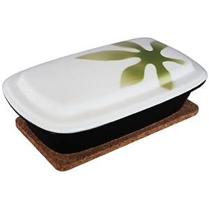 【レンジ・オーブン調理器具】 スチームディッシュ リーフ緑 (レシピ・鍋敷き付)