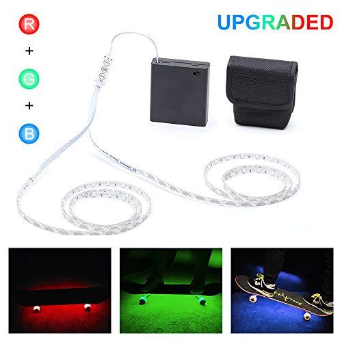 DANCRA LED Strip Light Battery Powered R,G,B Color Changing Flexible LED Strip with 3-Key Controller, Skateboard Lights Underglow for Skateboard, Longboard, Scooter, Bike Decor(2×2.62ft)