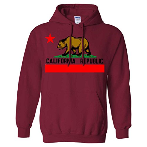 (Dolphin Shirt Co California Republic Borderless Bear Flag Black Text Sweatshirt Hoodie - Cardinal Red Small)