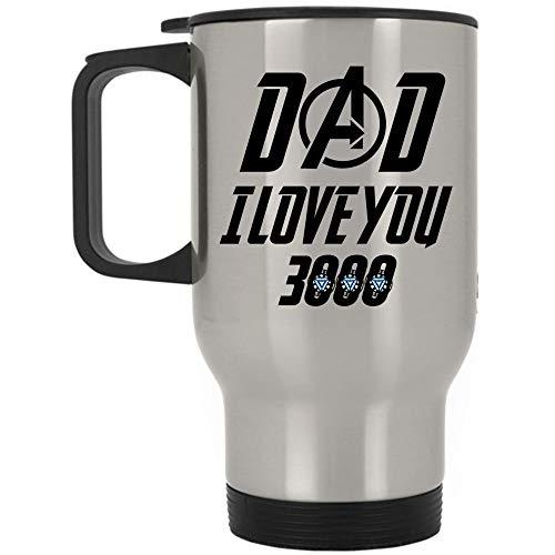 Iron Man Avengers Travel Mug, Dad I Love You 3000 Mug, Great For Travel Or Camping (Travel Mug - Silver)]()