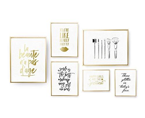 Set of 6 Prints, Beauty Set, Make Up Poster, Bedroom Decor, Brushes Print, Real