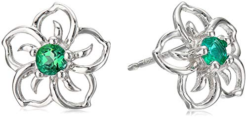 Sterling Silver Created Emerald Flower Stud Earrings