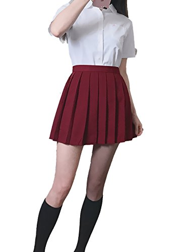 Genetic Girls White Short Sleeve Shirts Pleated Skirts Uniforms Set (Red,2XL) by Genetic Los Angeles (Image #1)