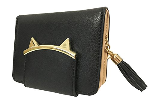 designer wallet with money clip cjai  Adorable Cat Ears Coin Purse for Ladies Small Wallet Money Clip Designer  Card Case Black