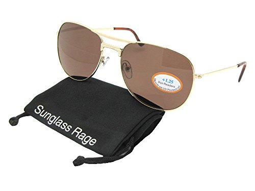 R95 Aviator Full Reading Sunglasses With Sunglass Rage Pouch (Gold Frame-Brown Lenses, - Reading Sunglasses Aviator