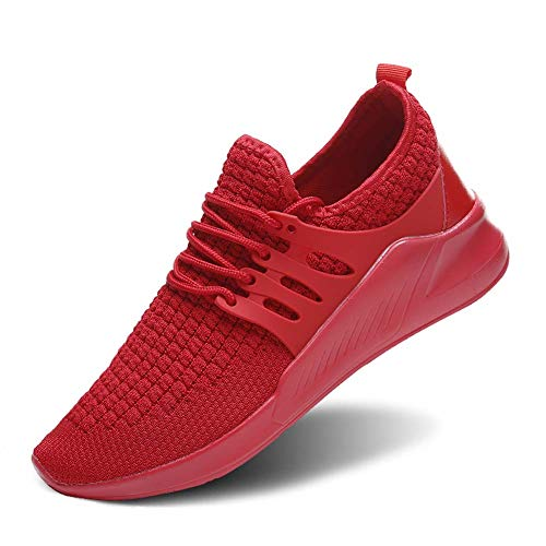Wander G Men Women Running Sneakers Ultra Lightweight Flyknit Shoes Breathable Fashion Casual Athletic Shoes for Walking (39,Red)