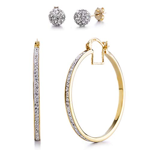 Devin Rose 40mm Hoop and Ball Stud Earrings for Women made With Swarovski Crystals in Yellow Gold Plated Brass (Yellow Set)