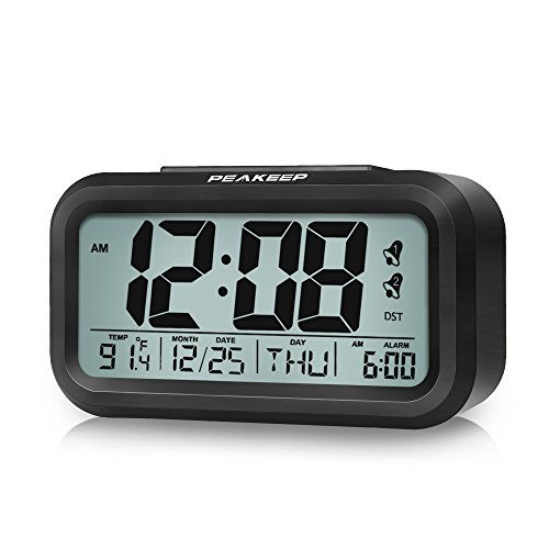 [Upgraded] PEAKEEP Battery Digital Dual Alarm Clock with DST, Dimmer Nightlight, Multifunctional Clock with Calendar, Date, Day of Week, Temperature, 2 Alarms with Snooze (Seconds Date Day Month)