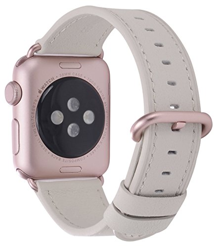 Creamy Lightweight (JSGJMY Compatible with Iwatch Band 38mm 40mm Women Genuine Leather Loop Replacement Strap Compatible with Iwatch Series 4 3 2 1 Sport Edition(38mm 40mm S/M,Creamy White+Rose Gold Buckle))