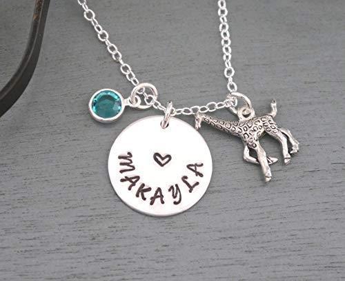 Giraffe Necklace - Personalized Giraffe Necklace - Name Necklace - Giraffe Jewelry - Silver - Girls
