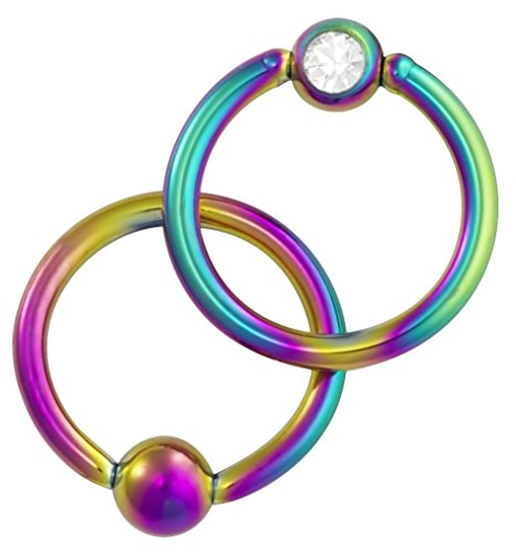 Jeweled Steel Captive Ring (16g 5/16 Inch Surgical Steel Rainbow IP Plated Jeweled Captive Bead CBR Hoop Ring)