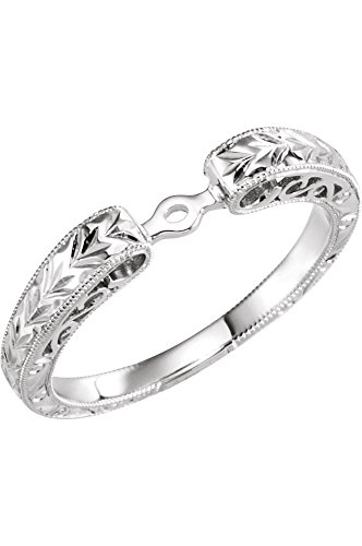 Hand Engraved Engagement Setting (14k White Gold Hand Engraved Engagement Base, Size 6)