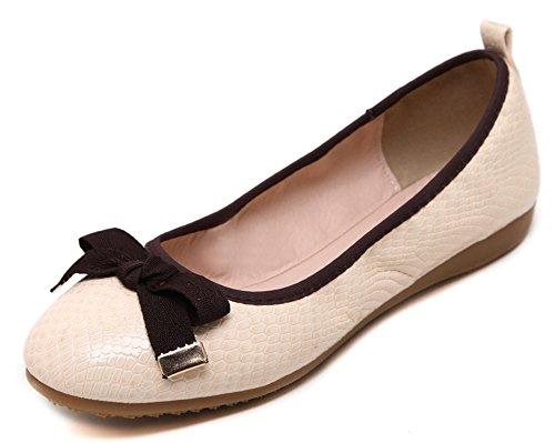 Sfnld Donna Classica Punta Tonda Modello Nodo Fiocco In Basso A Forma Di Slip Con Slip Sulle Scarpe Con Tacco Basso Albicocca