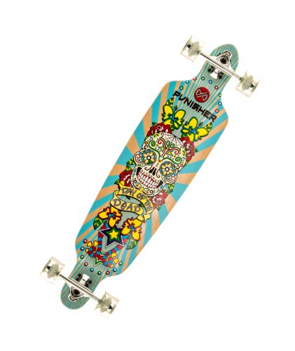 Punisher Skateboards Day of the Dead Drop-Through Canadian Maple Longboard Skateboard with Concave Deck, Blue/Yellow, 40-Inch