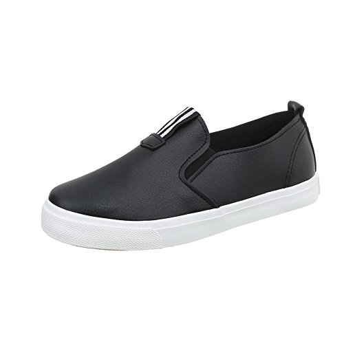 Sneakers Flat M Trainers Black Design Ital 7a Women's Low tInwx7xqF