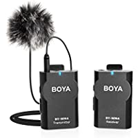 BOYA BY-WM4 2.4GHz Wireless Lavalier Lapel Mic, Omnidirectional Mic System Audio Recording with Easy Clip On, 3.5mm Plug for Canon Nikon Sony DSLR Camera, Camcorder, iPhone 7/7 plus