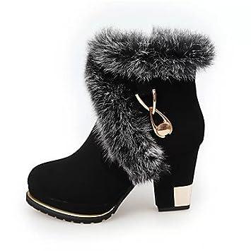 Heart&M Mujer Zapatos Tejido Otoño Invierno Confort Botas Tacón Robusto Botines Hasta el Tobillo Para Casual
