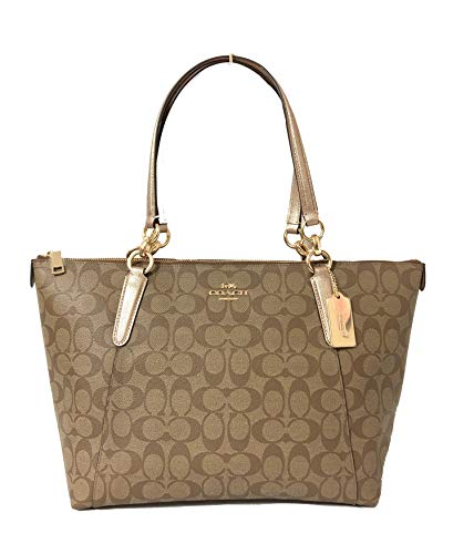 Coach AVA Leather Shopper Tote Bag Handbag (IM/Khaki Rose Gold)